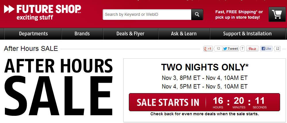 Future Shop: After Hours Online Sale (Nov 3 & 4
