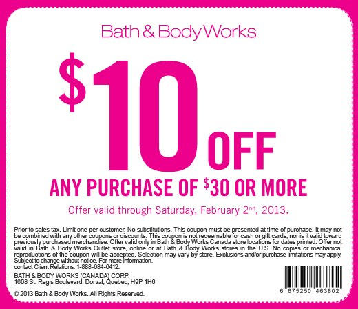 Bath & Body Works: $10 Off Any Purchase of $30 or More Coupon (Until