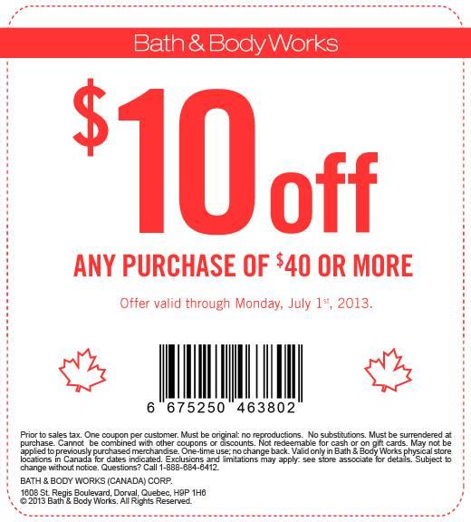 10 off 40 bath and body
