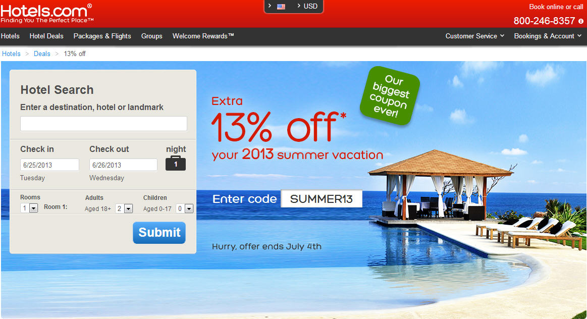 Discount coupons hotels