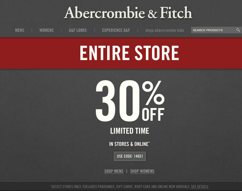 Abercrombie & Fitch 30 Off Entire Purchase In-Store or Online (Until July 8)
