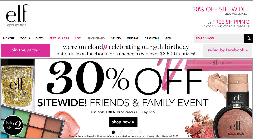 ELF Cosmetics Save 30 Off Sitewide Friends & Family Event (Until July 15)