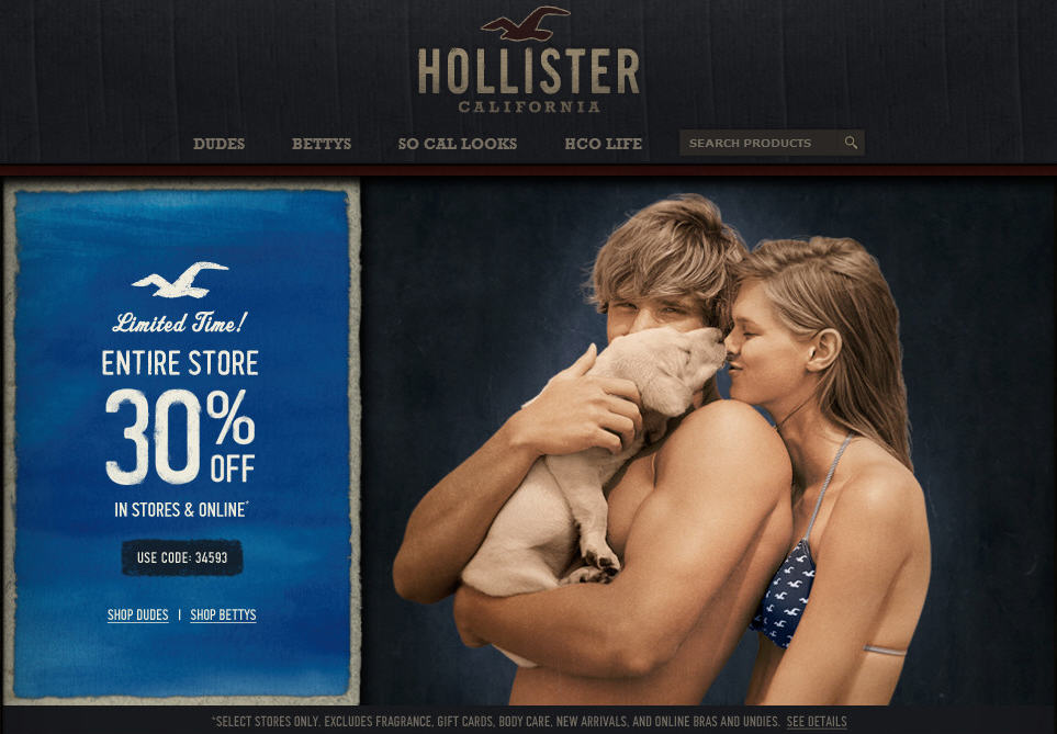 Hollister 30 Off Entire Purchase In-Store or Online (Until July 8)