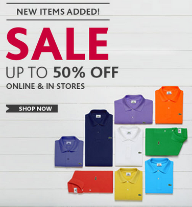 Lacoste Save up to 50 Off In-Stores & Online