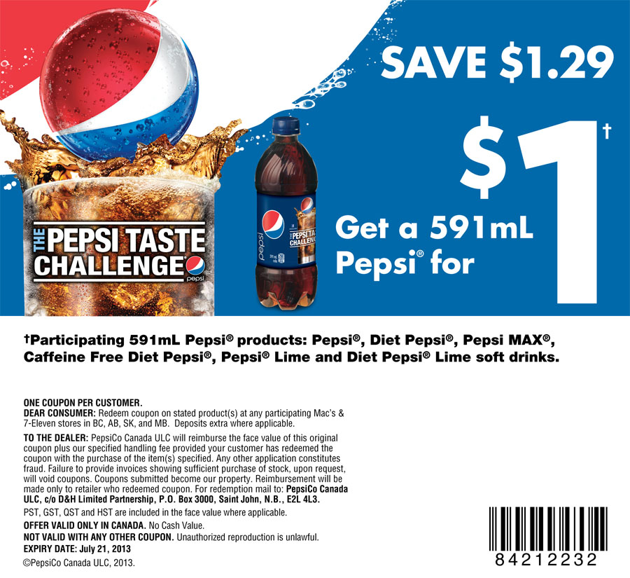 Mac's & 7-Eleven Get a 591mL Pepsi for $1 Coupon
