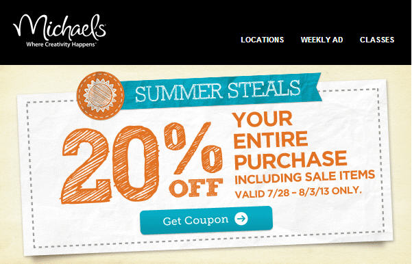Michaels 20 Off Your Entire Purchase Coupon (July 28 - Aug 3)