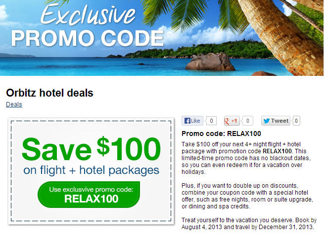 Orbitz Extra $100 Off Flight Hotel Package Promo Code (Book by Aug 4)