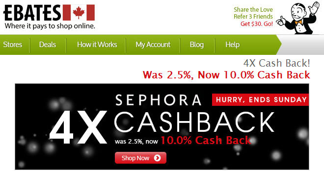 Sephora Get 10 Cash Back through Ebates.ca (Until July 21)