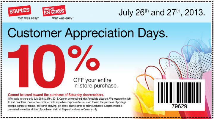 Staples Customer Appreciation Days - 10 Off Entire In-Store Purchase (July 26-27)