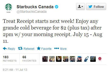 Starbucks Treat Receipt - Bring Back Morning Receipt, & get a Grande Cold Beverage for $2 (July 15 - Aug 11)