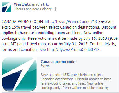 WestJet Extra 15 Off Travel to select Canadian Destinations (Book by July 16)